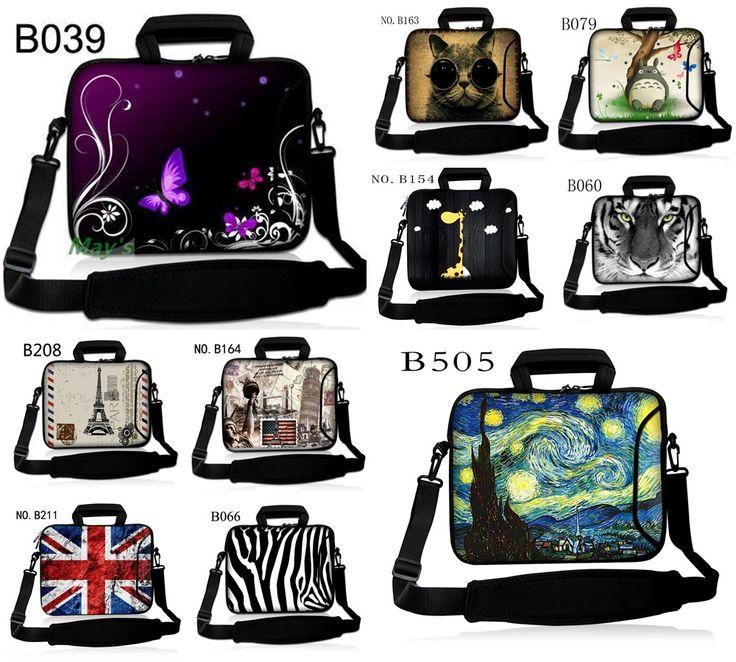 Laptop Shoulder Bag + Side Pocket Computer Handbag Neoprene Laptop Sleeve Case Bag For 10 10.1 11.6 12 12.1 13 13.3 15.6 17 inch