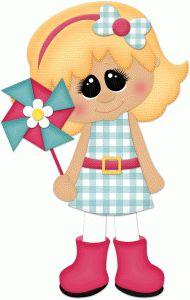Silhouette Design Store - View Design #77994: spring girl w pinwheel
