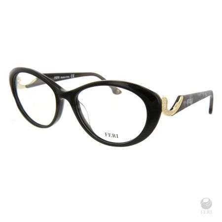 FERI - Oslo Black - Optical - Black acetate optical glasses - Embellished with Gold toned metal and clear stones - FERI logo on both outer arms - Cat-eye frame shape - Comes with non-prescription plano Lens - Incredibly unique styling will turn heads  www.gwtcorp.com/ghem or email fashionforghem.com for big discount