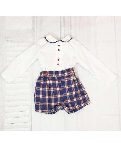 b23c2a0a3 Conjunto niño cuadros Conjunto de niño bebé. Camisa blanca básica con  botones en rojo y