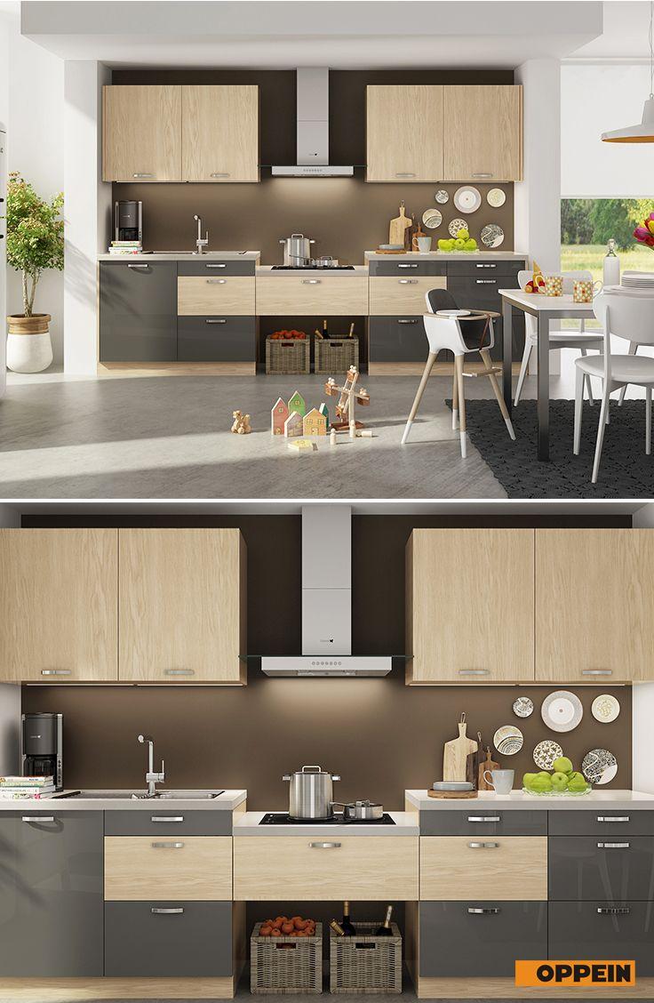 White And Wood Grain I Shaped Kitchen Kitchen Design Kitchen Cabinets Kitchen