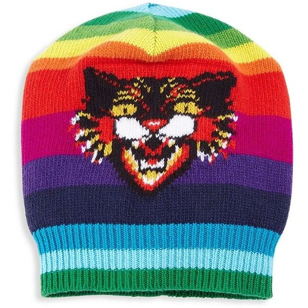Gucci Multicolor Angry Cat Wool Hat ($680) ❤ liked on Polyvore featuring men's fashion, men's accessories, men's hats, gucci mens hat, mens hats and mens wool hats
