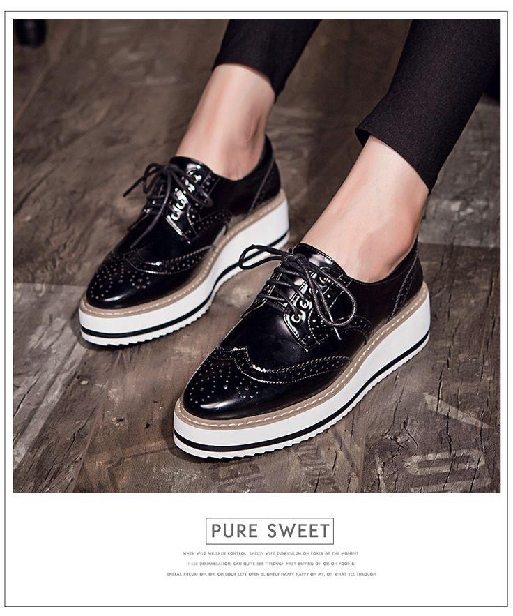 New mulheres asas Oxford Lace Up plataforma listrada metálico de prata do Vintage plataforma boi plana sapatos femininos em Sapato baixo de Calçados no AliExpress.com | Alibaba Group Mais