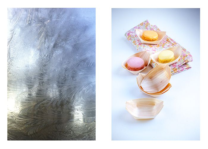 des minis barquettes en bois clair, et des  macarons  givre hiver