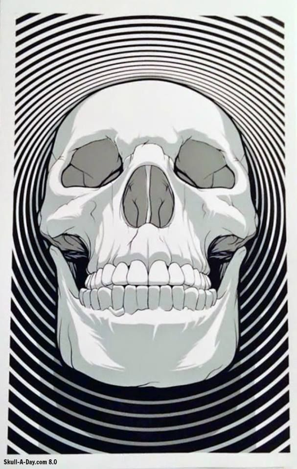 Fantastically trippy skull poster. Unsure of the artist.
