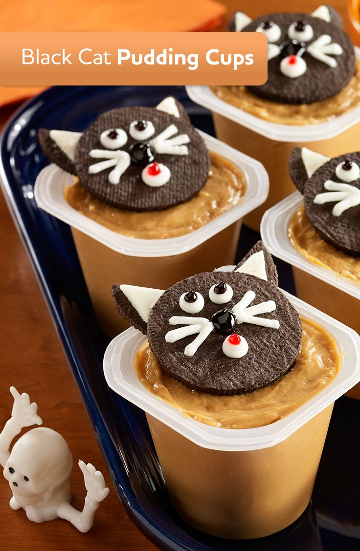 black cat pudding cups made of butterscotch pudding with peanut butter and topped with a chocolate - Pudding Halloween Desserts