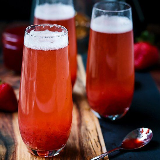 The sweet fruity tang of the strawberry lemonade compote mixed with the sparkling wine. It's a winning Mimosa.