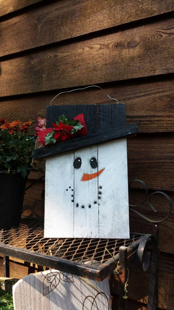 DOUBLE SIDED REVERSIBLE Wood Snowman Wood by FlawedtoFabulous
