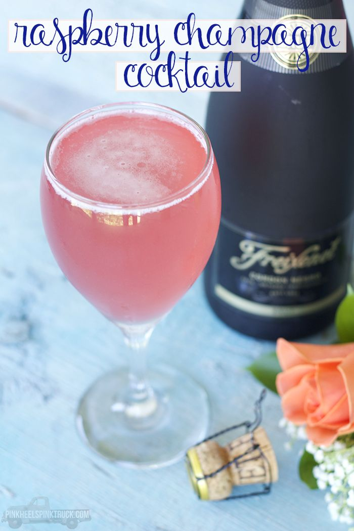 This Raspberry Champagne Cocktail is a play on the French Martini. It pairs homemade raspberry simple syrup, pineapple juice, vodka and champagne. So good!