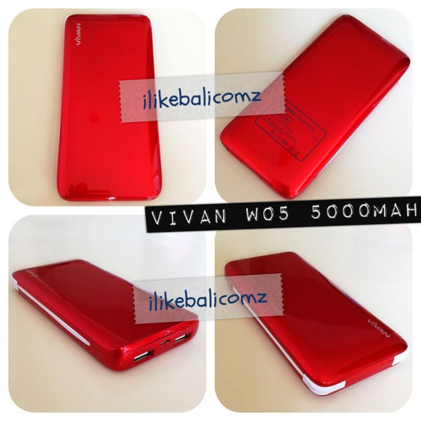 Kode Produk : W05  Warna : Hitam, Putih, Pink, Biru, Merah, Hijau Lime  Kapasitas : 5000 mAh  Output : 3 (1A, 1A, 2.1A)  Fitur : Bisa charge 3 Device bersamaan, ada konektor Galaxy Tab, ada 4 titik level indikator daya    isi paket pembelian:  • 1 Unit W05  • 6 Konektor (Galaxy Tab, PSP, Nokia ,Mini USB, Micro USB, iPhone/iPad/iPod)  • 1 USB Wall Charger (1A)  • 1 Kabel Panjang  • 1 Kabel Pendek  • 1 Pouch  • 1 Kartu Garansi (berlaku 6 bulan)