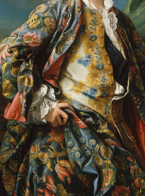 Charles-André Van Loo, Portrait de Jacques-Germain Soufflot (detail) 18th century - gibão com bordados, realce para as mangas com renda com evidências de inspiração rococó