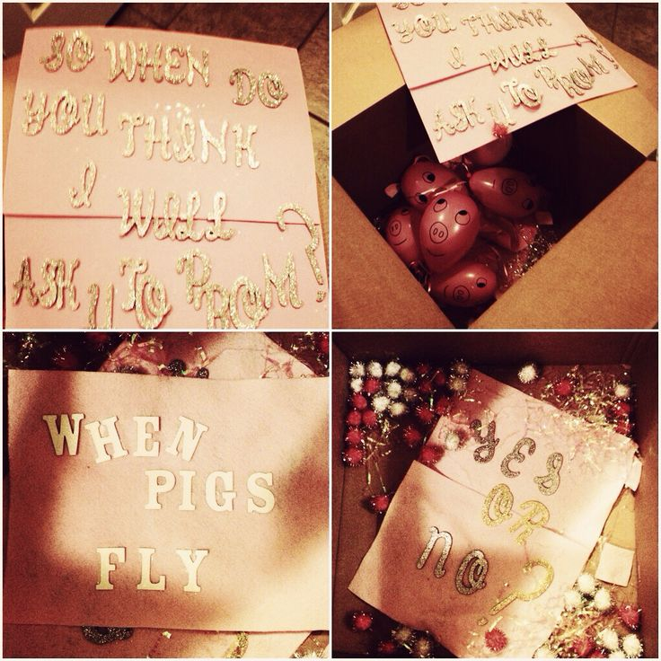 Prom idea when pigs fly ahhh love this want badly for Best at home proposal ideas