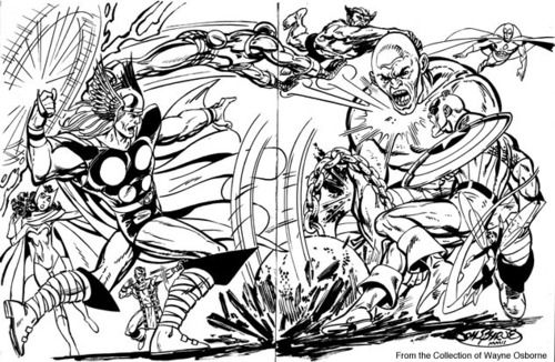 The Avengers Vs Absorbing Man end paper commission by John...