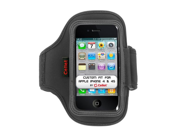 Cellet Neo Armband (13 inches long) for Apple iPhone 4/4S - Black. Perfect for gym or any outdoor activities. Washable neoprene fabric. Light weight. 13 inch long strap.
