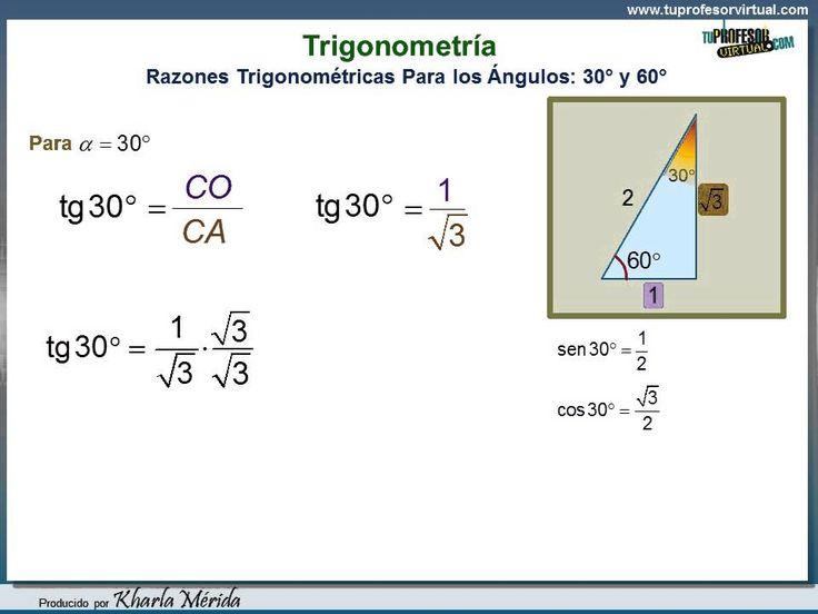 TRIGONOMETRÍA. Relaciones Trigonométricas para los Ángulos 30° y 60°. Pa...