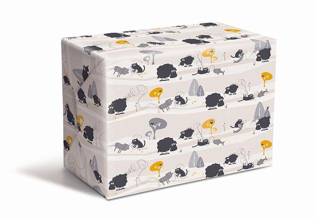 #Geschenkpapier mit #Katze Friedegunde beim #Stricken.