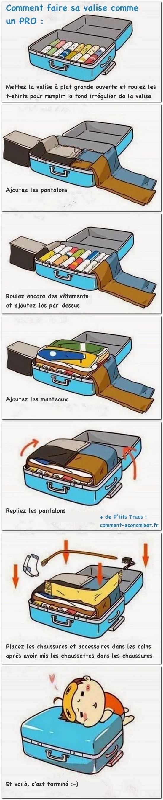 Vous avez besoin de faire votre valise pour votre prochain voyage ? Pas de panique ! Voici notre guide pour faire sa valise comme un pro !  Découvrez l'astuce ici : http://www.comment-economiser.fr/comment-faire-sa-valise-comme-un-pro..html?utm_content=buffer63199&utm_medium=social&utm_source=pinterest.com&utm_campaign=buffer