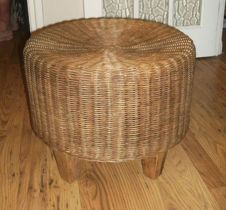 Retro Wicker Footstool Wicker Wicker Furniture Retro