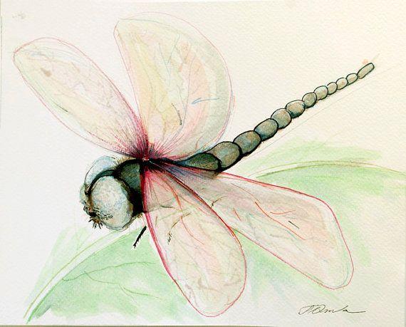 Dragonfly painting Watercolor painting Original by coloribli