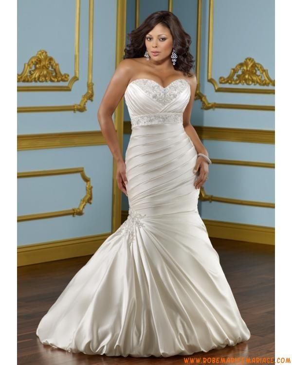robe de mariée sirène grande taille en taffetas applique cristaux bustier
