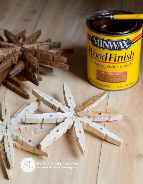 Clothespin Snowflake Ornament Tutorial   27 Spectacularly Easy DIY Christmas Tree Ornaments, see more at http://diyready.com/spectacularly-easy-diy-ornaments-for-your-christmas-tree