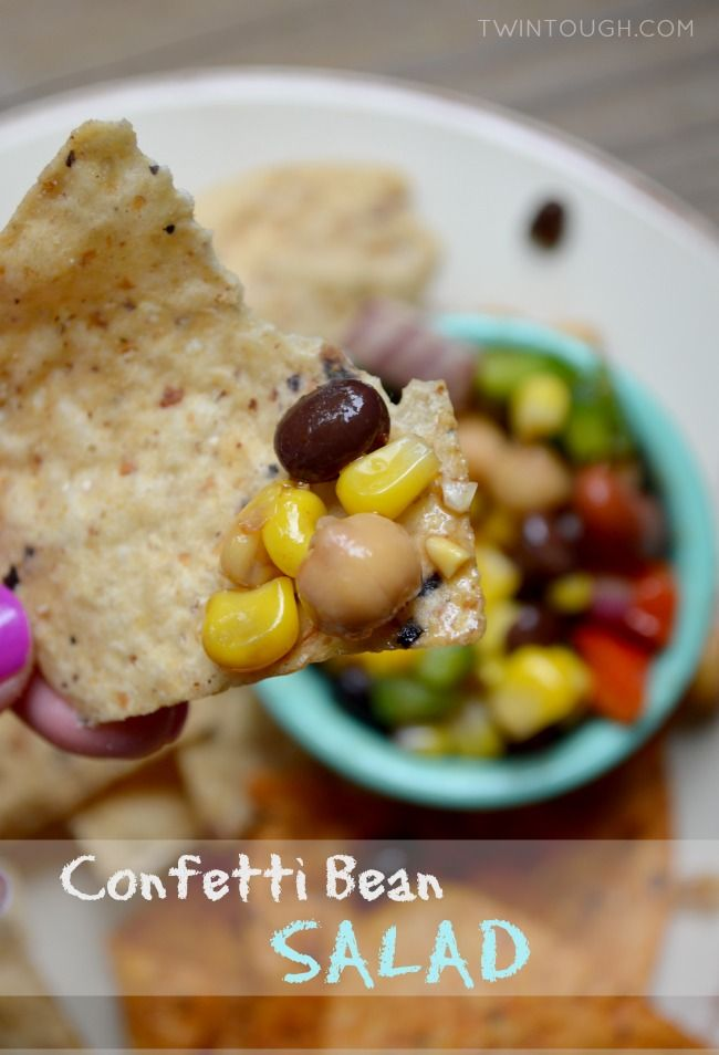 This Confetti Bean Salad is healthy, easy-to-make, super-satisfying as an appetizer or side dish, and is loaded with fresh veggies, protein and fiber!