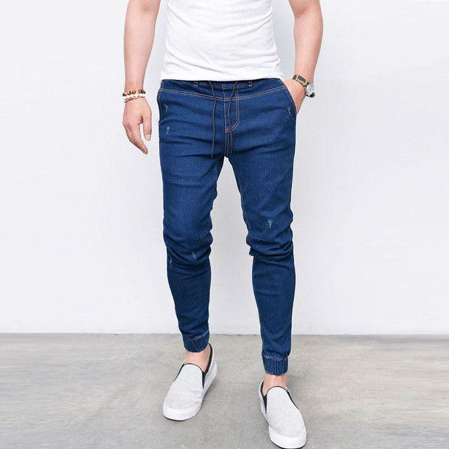 2017 Fashion New Brand Men's Harem Jeans Legging Denim Pants Elastic Feet Pants Men Hip Hop Rap Blue Jeans Skinny Jumpsuit