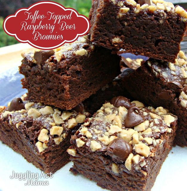 Juggling Act: Toffee-Topped Raspberry Beer Brownies {Spiked! Recipe Challenge}