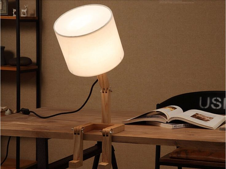HGHomeart Creative Nordic Simple And Stylish Table Lamp Study Bedroom  Bedside Lamp Table Lamp Wood Wooden