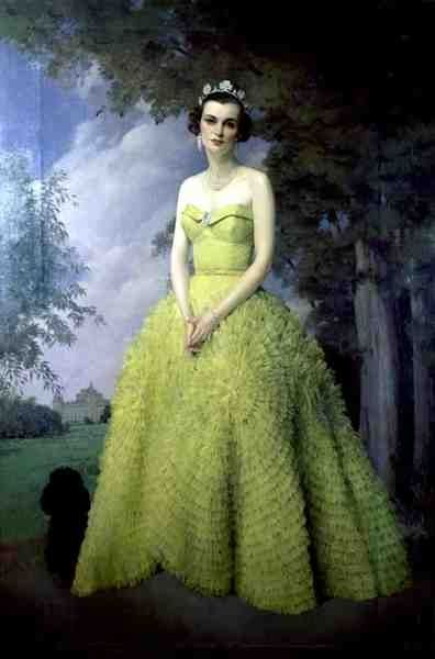 Sir James Gunn (1893-1964): Portrait of Margaret, Duchess of Argyll, 1950.  Hmmm...wonder if the skirt of this gown was an inspiration for Jackie Kennedy's wedding dress?