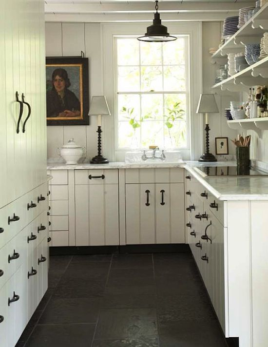 Country Kitchen By William B. Litchfield Residential Design   Love The  Clean Lines Of The Hardware And The Dark Floor.