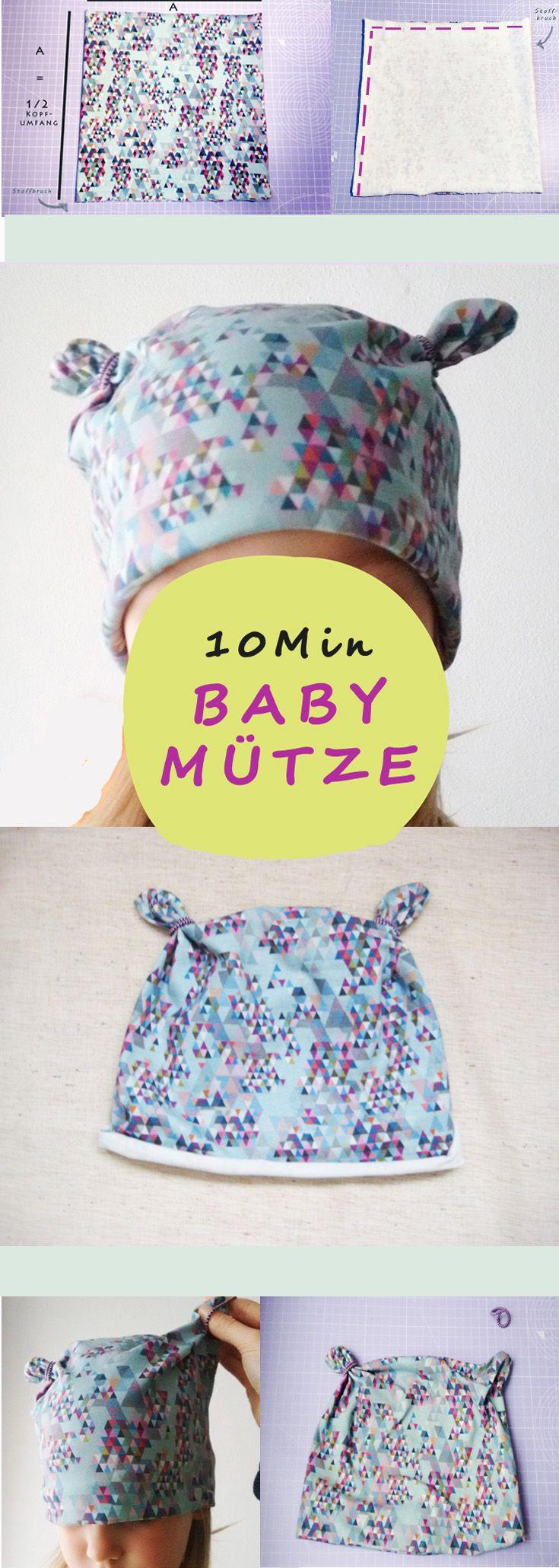 Babymütze nähen – Anleitung mit einfachem Schnittmuster – Jenny Voho
