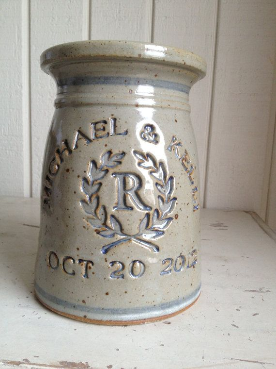 "Marriage Crock (Size: 7.5 x 5"")  Zotter The Potter stoneware will be a cherished remembrance and will add a warm touch to any home year round."
