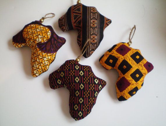 African Fabric Ornaments Brown Orange African by SGArtandFashion