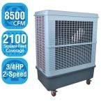 8,500 CFM 2-Speed Portable Evaporative Cooler for 2,100 sq. ft., White/Grey
