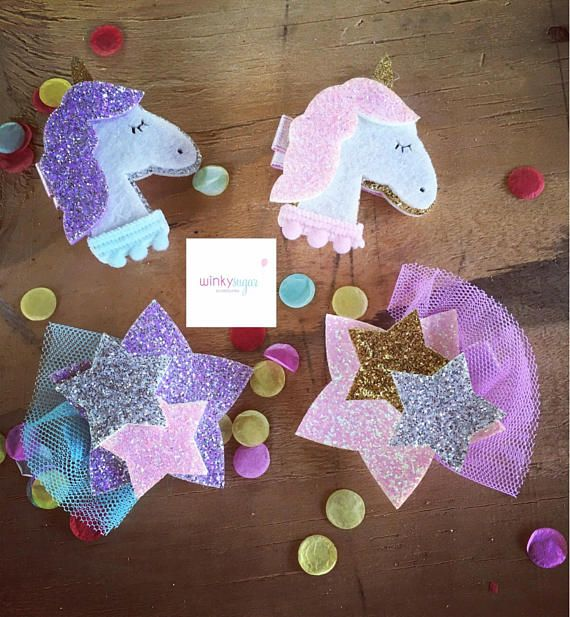 {ABOUT} Unicorns and shooting stars. Thats what little girls are made of. Your little gal will be in awe of these magical hair clips. {EXTRAS} This listing is for ONE clip of your choice. Please make style/color selection at checkout. {GUARANTEE} At Winky Sugar, I use high quality