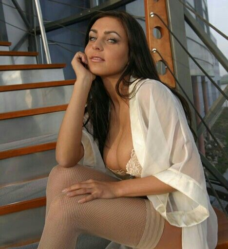 Ewa Sonnet - staircase - lovely seated pose