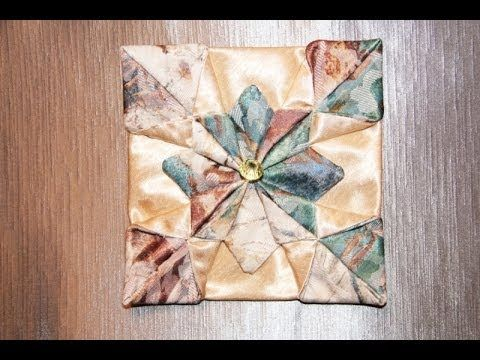 "Оригами из ткани цветок ""Хризантема"" - YouTube"