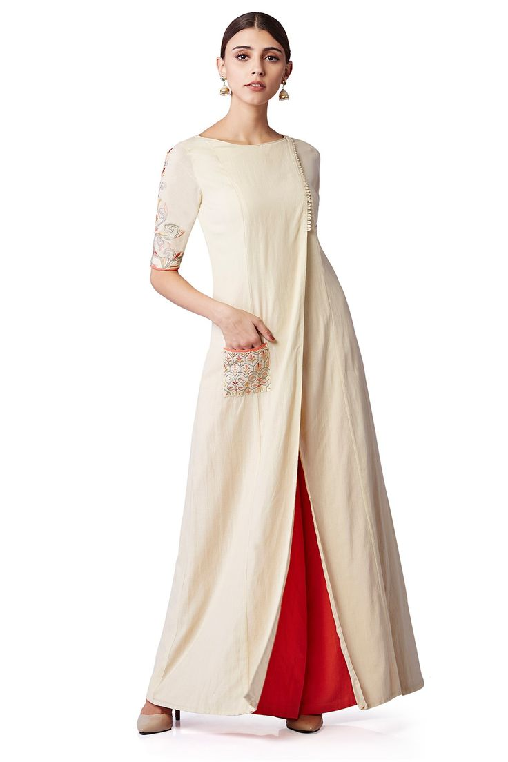 Featuring an elegant set of a front-open kurta, embellished with intricate thread embroidery on the pocket and sleeves and a pair of complimentary orange palazzos.INR 14,500.00
