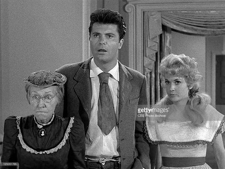 Irene Ryan as Daisy Moses, Max Baer Jr. as Jethro Bodine and Donna Douglas as Elly May Clampett in THE BEVERLY HILLBILLIES episode, 'Hair-Raising Holiday.' Original airdate, October 2, 1963. Image is a frame grab.