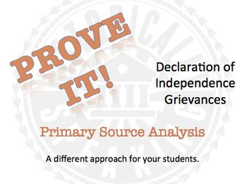 This handout analyzes the list of grievances in the Declaration of Independence. This is a different approach to asking students to summarize a primary source, which can be a challenge for some. Instead of students doing the summarizing, they are given a statement that they must prove by finding the exact words within the Declaration.