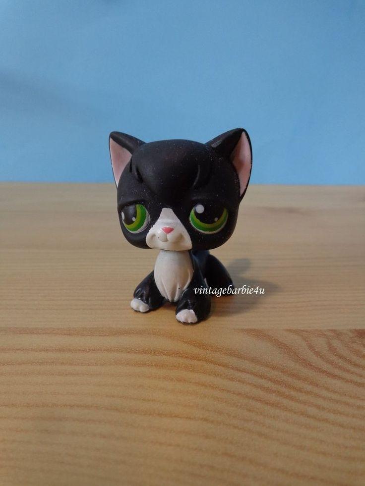 Littlest Pet Shop LPS Black White Tuxedo Angora Kitten Kitty Cat #55 Green Eyes #Hasbro