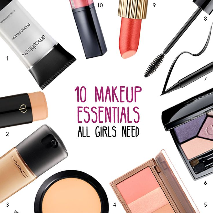 Must haves for every girl.  1. Primer 2. Concealer 3. Foundation 4. Powder 5. Blush/Bronzer palette 6. Eye shadow palette 7. Eye liner 8. Mascara 9. Bold lipstick 10. Lip gloss Don't forget to add make up wipes to take it all off!
