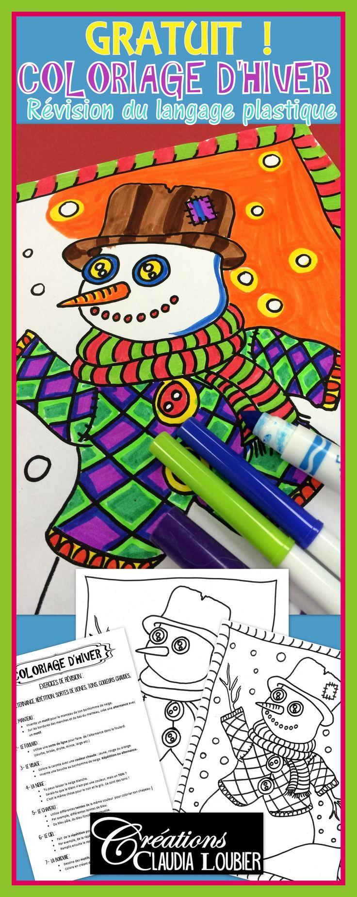 J'ai créé ce ''Coloriage d'hiver'' pour occuper de façon plus éducative mes élèves pendant les derniers jours avant Noël. Votre cadeau pour Noël ! Merci pour vos partages, vos ''J'aime'', vos commentaires et pour tous ces échanges enrichissants durant cette année ! Mais pourquoi ne pas rendre ce coloriage plus enrichissant en révisant des notions du langage plastique. Réviser les notions de motifs, d'alternance, de répétition, de sortes de lignes, de tons et de couleurs chaudes.