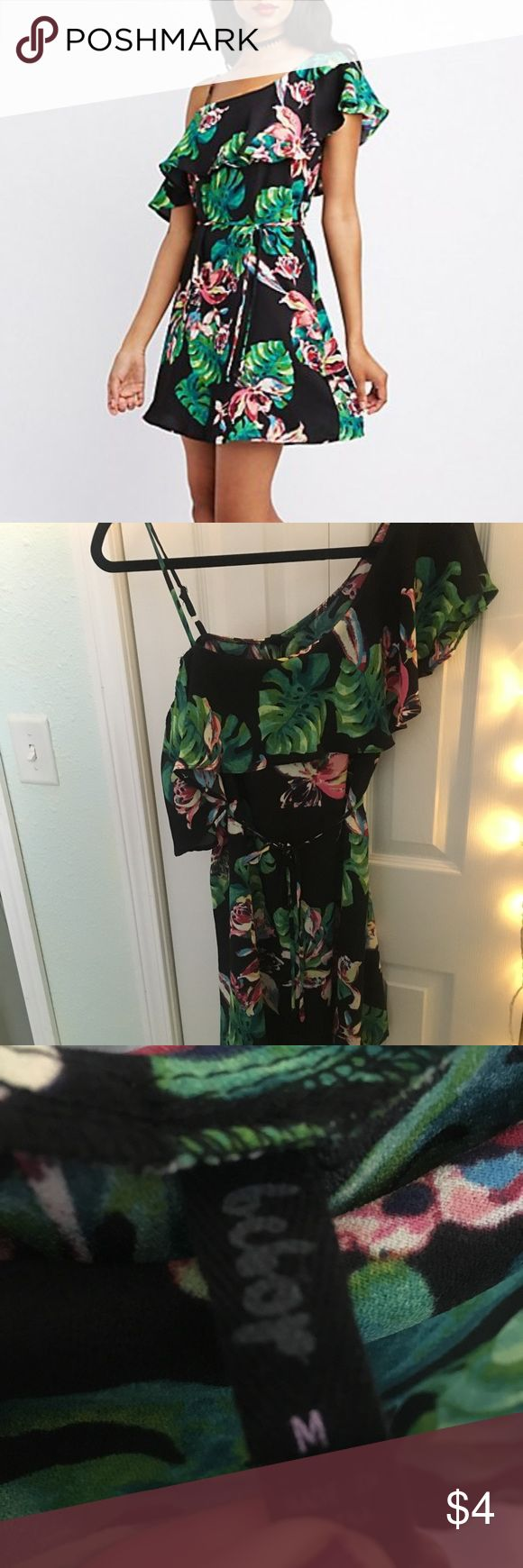 Charlotte Russe One Shoulder Dress (damaged) New, just bought in July and damaged. Tropical print dress with ruffle that hangs off one Shoulder. Only wore once before it ripped apart on me, the rip is shown in the picture and it's right in the middle of the lower back side, this could be sewn back up but I don't have a sewing machine so I'm selling it instead for a low price. Has string to tie around waist as well for cinching in. Any questions, please ask! Please buy on ♏️ercari for…