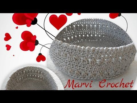 Tutorial cestino,cesto,svuota tasche all'uncinetto/crochet basket,empty pockets - YouTube