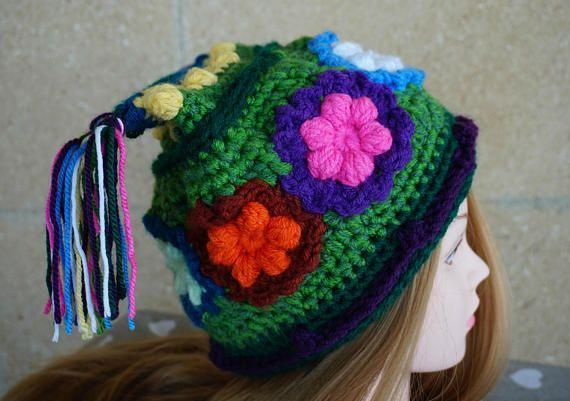 Crochet Freeform Flowers Hat, Forest Spirit Hat, Nature Lover, Fairy Magic Hat, Pixie Hat, Green Colorful Flowers, Winter Women Girls Hat