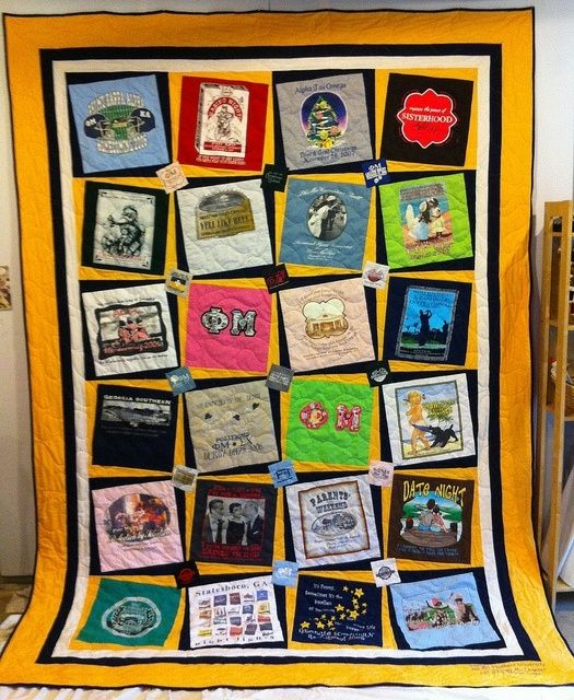 I like this example because the shirts are tilted on top of squares rather than just being sewn as the straight squares themselves. It adds interest to the piece. T-Shirt Quilt Ideas | favorite t-shirt quilt!! by kristin.small