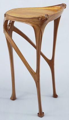 Art Nouveau Side Table,  Hector Guimard  (French, 1867–1942),  ca 1904-07.  Pear wood.