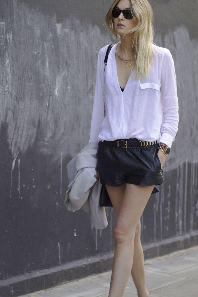 Zara shirt and flats - Maje leather shorts - H belt - Carin Wester jacket - Jennifer Zeuner necklaces - Larsson & Jennings watch - Rayban sunnies